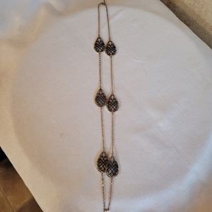 Gold Toned and Black Beaded Tear Drop Necklace